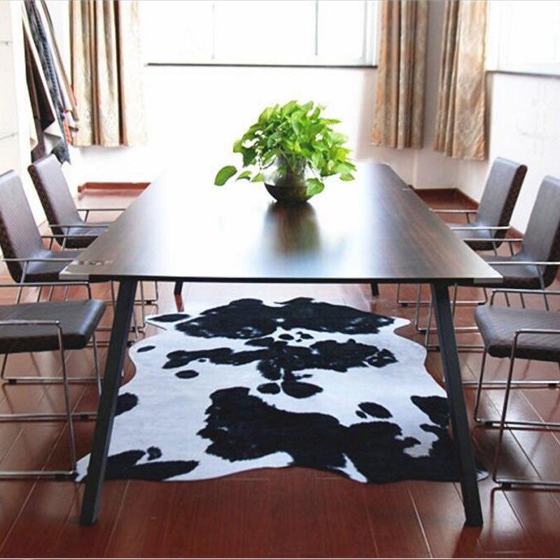 140x200 см из искусственной кожи в европейском стиле Ковры для Гостиная Европейский Спальня коровы узор Коврики Кофе Таблица пол Коврики