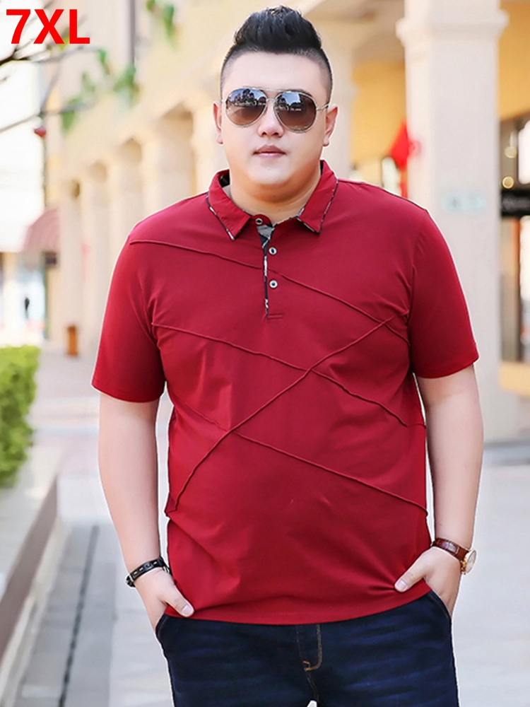 Large size men's short-sleeved   POLO   shirt male big man's fat loose   polo   shirt Summer 7XL red
