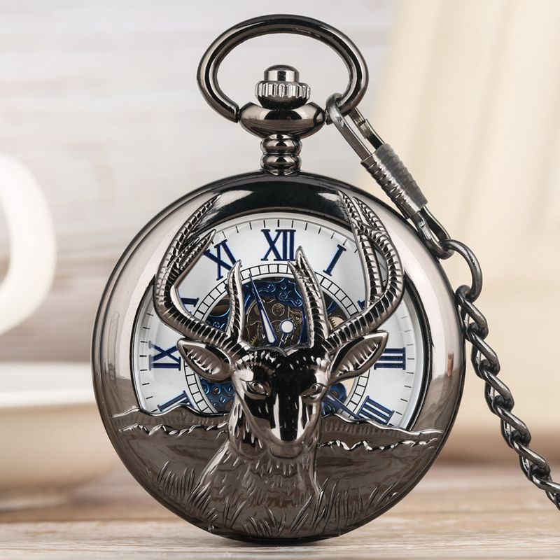 Retro Black Goat Hollow Out Mechanical Pocket Watch Fashion Blue Roman Numeral Face Dial Premium Alloy Jewelry Wrist Chain Watch