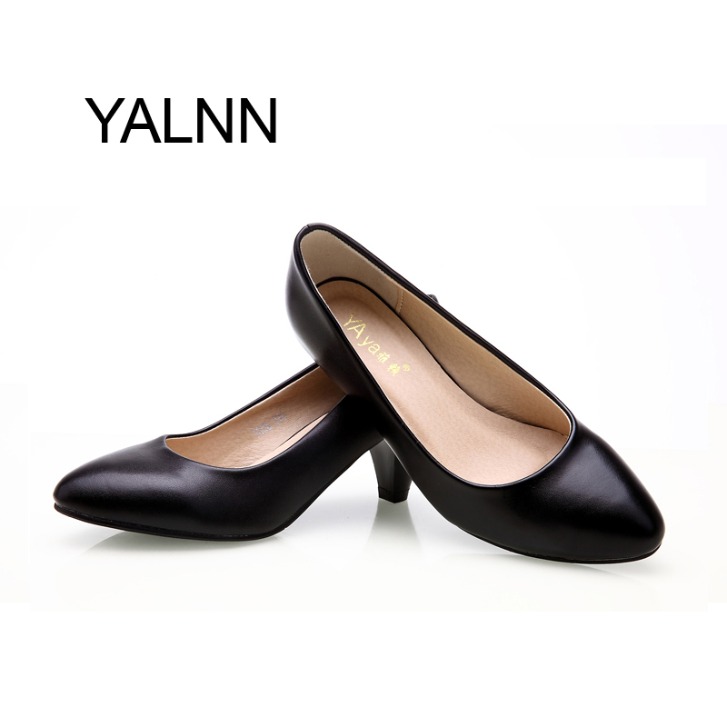 Women leather med heels Pumps Shoes Classic New High Quality Shoes Black Pumps Shoes for Office Ladies(China (Mainland))
