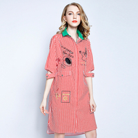 2017 Women S Summer Red Striped Cotton Cardigan Loose Plus Size 4xl Embroidery Casual Shirt Dress