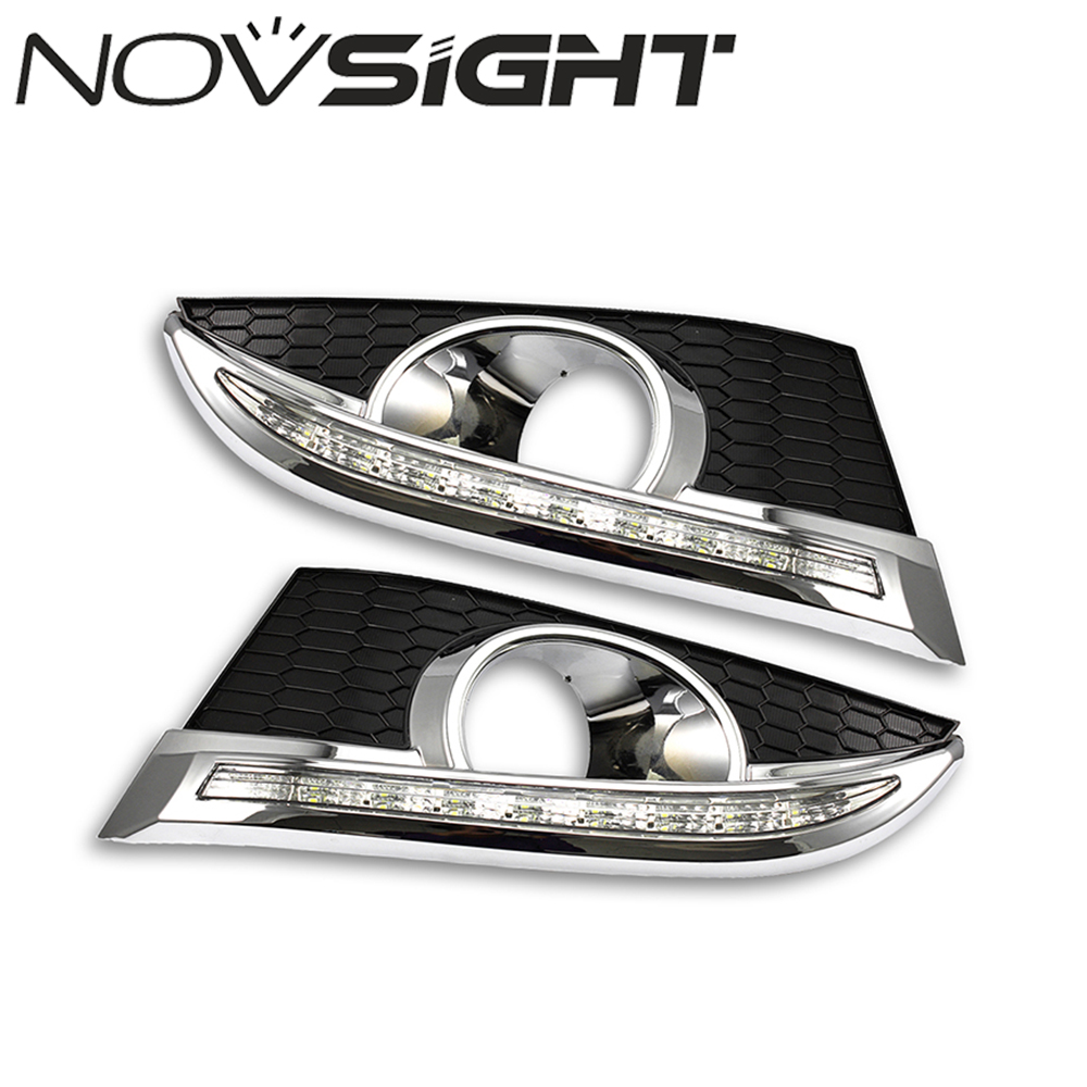 NOVSIGHT Auto Car Led Light Daytime Running Lights LED DRL Turn Signal Day Head Fog Lamps for Chevrolet CAPTIVA 2011-2012 D25 1 pair car led lights 12 24v drl head lights 8w turn light strip