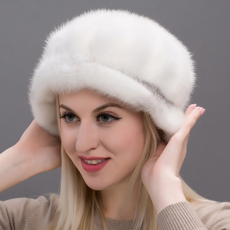 JKP2018 Autumn and winter hooded ladies real mink fur cap winter hat ladies hat Russian fashion cap Skullies & Beanies DHY17 29A