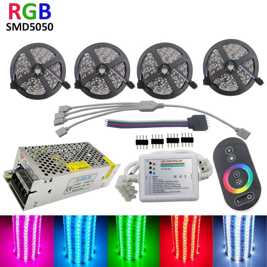 20 m LED contrôleur tactile de lumière de bande 5050 RGB bande 30 LED/m Flexible IP65 étanche néon lampe ruban ruban DC 12 V adaptateur ensemble