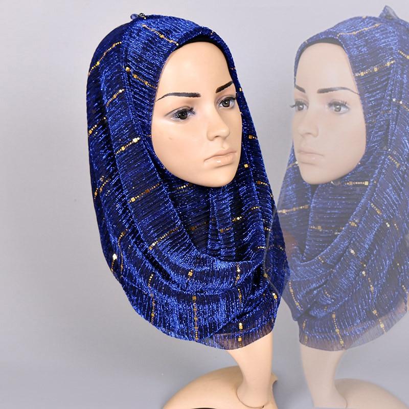 Beautiful! Magic filament Sequin Scarves Women Muslim Hijabs  Shimmer Lurex Long Shawl Wrinkled Islamic Wedding Veil Head  CoverWomens Scarves