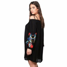 Kissmilk Plus Size Flare Sleeve Floral Embroidery Loose Pleated Mini Dress Long Sleeve Spaghetti Straps Dress Large Size Dress plus trumpet sleeve flare floral dress