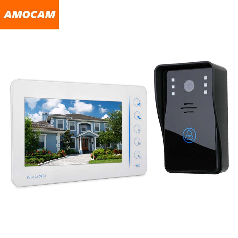 7 Color Touch Monitor Video door phone Intercom Doorbell System  IR Night Vision Camera support 4 Channel CCTV Camera tmezon 4 inch tft color monitor 1200tvl camera video door phone intercom security speaker system waterproof ir night vision 4v1