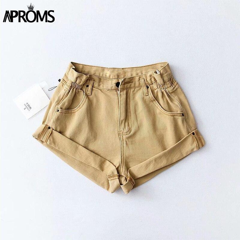 Aproms Casual Blue Denim Shorts Women Sexy High Waist Buttons Pockets Slim Fit Shorts 2019 Summer Beach Streetwear Jeans Shorts 41