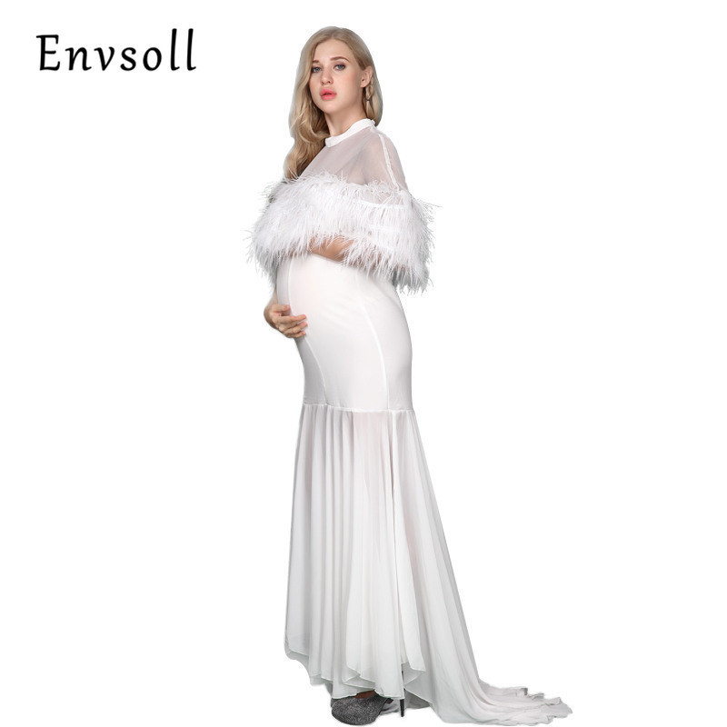 Envsoll High Quality Maternity Dress 2017 Maternity Photography Props Maternity Clothes Feather Pregnant Dress For Photo Shoot envsoll maternity wide leg jeans pants for pregnant women pregnancy prop belly pants maternity loose overalls straight clothes