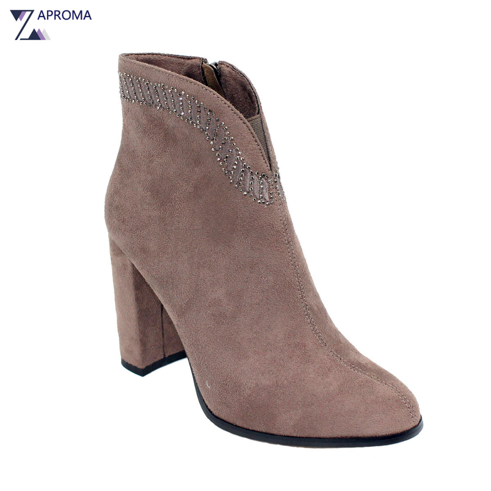 Crystal Suede Nude Pink Chunky Heel Ankle Boots Women Round Toe Autumn Winter Super High Heel Booties Rhinestone Fleeces Shoes women ankle boots medium heel genuine leather booties vintage thick suede round toe chunky shoes slip on platform brown fall