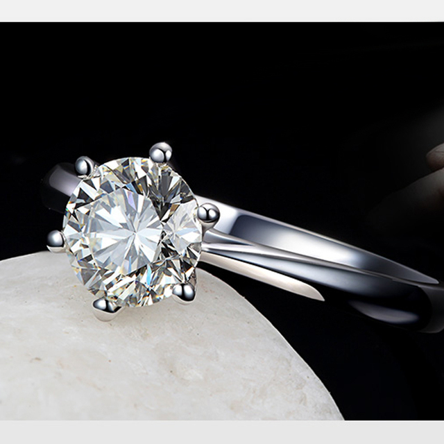 100% 925 Sterling Silver Woman CZ Crystal Wedding Engagement Finger Rings Super Shinning Cubic Zirconia Fine Jewelry 1