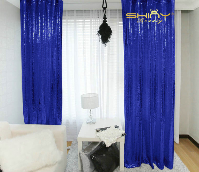 Relatively ShinyBeauty 20FTx10FT Royal Blue Curtains For Living Room,Sequin  VZ83