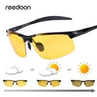 Reedoon очки ночного видения Для мужчин поляризованные HD фотохромная линза UV400 желтый вождения очки для водителей Спорт Высокое качество