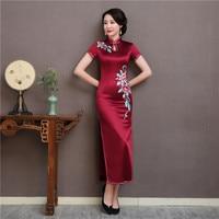 Бордовый новые летние шёлковый китайский женский халат элегантный для женщин короткий рукав тонкий Cheongsam пикантные разделение Длинные