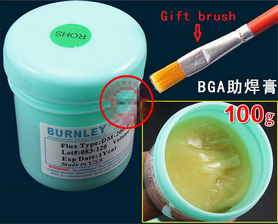 1Pcs/lot (Accessories|Welding) DM-200-BU BURNLEY Solder Paste, For Reflow Soldering BGA (LEAD FREE),100g Lead-free solder paste high quality amtech nc 559 asm uv tpf no clean pcb smd bga soldering paste solder lead free flux bga reballing soldering