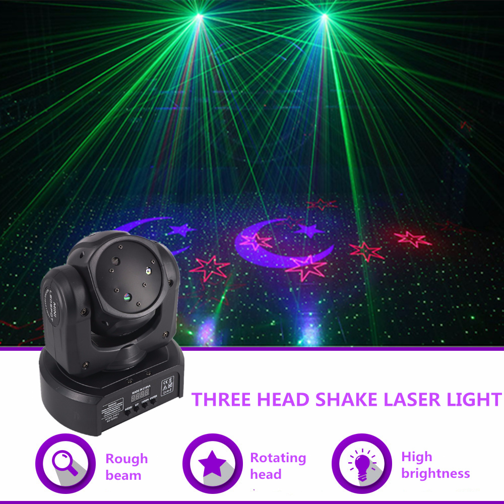 AUCD Mini 3 Heads RGB Moon Star Gobo Laser Shark Moving Beam Light DMX Professional Party Disco Show DJ Stage Lighting DJ-3HP rg mini 3 lens 24 patterns led laser projector stage lighting effect 3w blue for dj disco party club laser