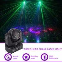 AUCD Mini 3 Heads RGB Moon Star Gobo Laser Shark Moving Beam Light DMX Professional Party Disco Show DJ Stage Lighting DJ 3HP
