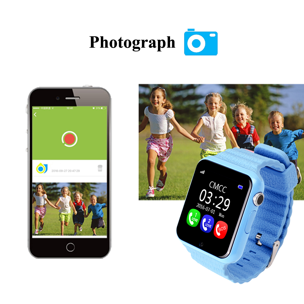 GPS Kids Smart Watch V7k with Camera Facebook SOS Call Location Devicer tracker for kid safe anti-lost monitor