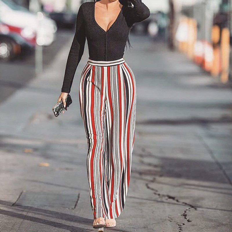 2018 Spring Women Loose Striped Print High Waist   Wide     Leg     Pants   Elegant Casual Streatwear Palazzo   Pants   Ladies Trousers Femme XL