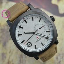 Nueva marca de moda de lujo movimiento de cuarzo correa de cuero militar de buena calidad reloj de pulsera reloj de hora relojes de los hombres