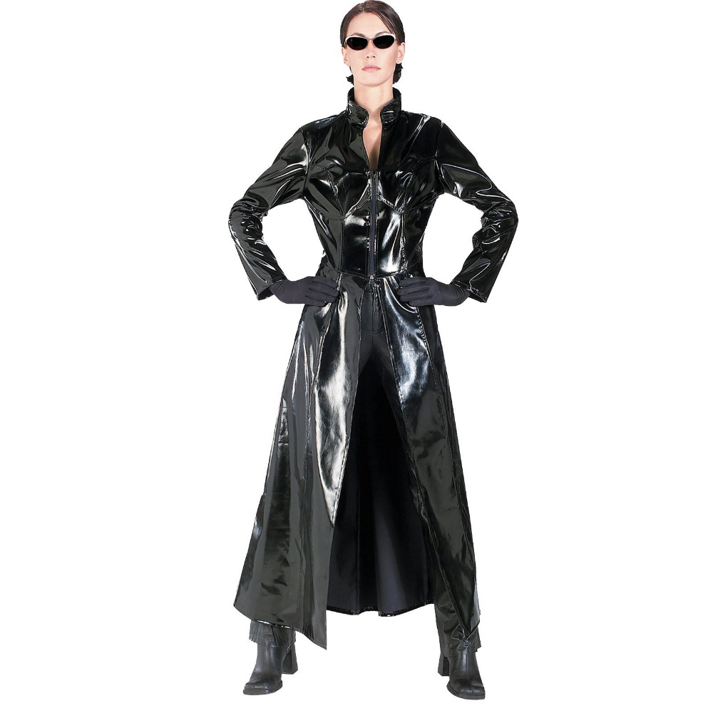 Costume Clubwear Cosplay-Dress Long-Coat Latex The Matrix Vinyl Faux-Leather Catwoman title=