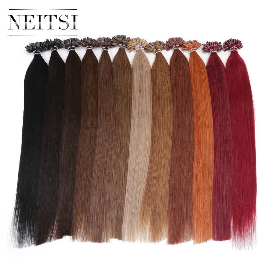 Neitsi Straight Keratin Capsules Human Fusion Hair Nail U Tip Machine Made Remy Pre Bonded Hair Extension 16 20 24 1g/s 50g