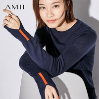 Amii Minimalist Casual Women Sweater 2018 Solid Slits Patchwork Female Pullovers Sweaters