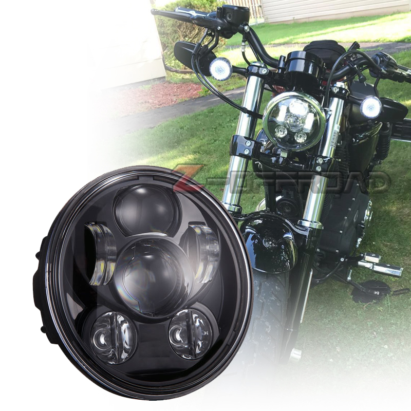 runde schwarz 5 75 zoll motorrad led scheinwerfer lampe 5 3 4 led h4 projektor scheinwerfer. Black Bedroom Furniture Sets. Home Design Ideas