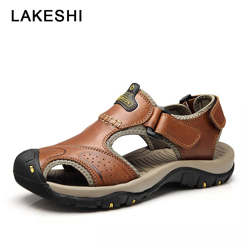 Mens Sandals Genuine Leather Summer 2018 New Beach Shoes Men Casual Shoes Outdoor Male Shoes Plus Size 38-46 38 46 plus size summer shoes men sandals leather shoes men casual summer sandals men summer shoes