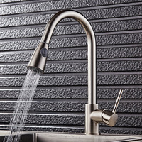 Single Handle Kitchen Faucet Mixer Pull Out Kitchen Tap Single Hole 360 Rotate Copper Chrome