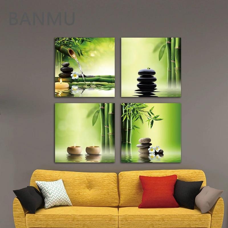 Peinture Sur Toile Moderne Avec 4 Panneaux Imprimes Zen Ghiclee Decoration De Bureau En Bambou Vert Parfait Aliexpress