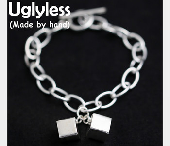 Uglyless Genuine S 990 Silver Chains Bracelet Geometric Handmade Cube Charms Bracelets Unisex Simple Fashion Square Fine Jewelry