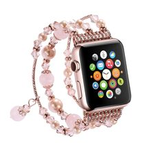 For Apple Watch Band Handmade Elastic Stretch Beaded Faux Pearl Agate Natural Stone Bracelet Strap Women Girls Series 4 3 2 1(China)