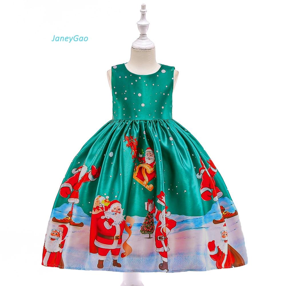 JaneyGao   Flower     Girl     Dresses   For Christmas Party   Girl   Formal   Dresses   Christmas Gown Green With Cute Pattern 2018 Winner New