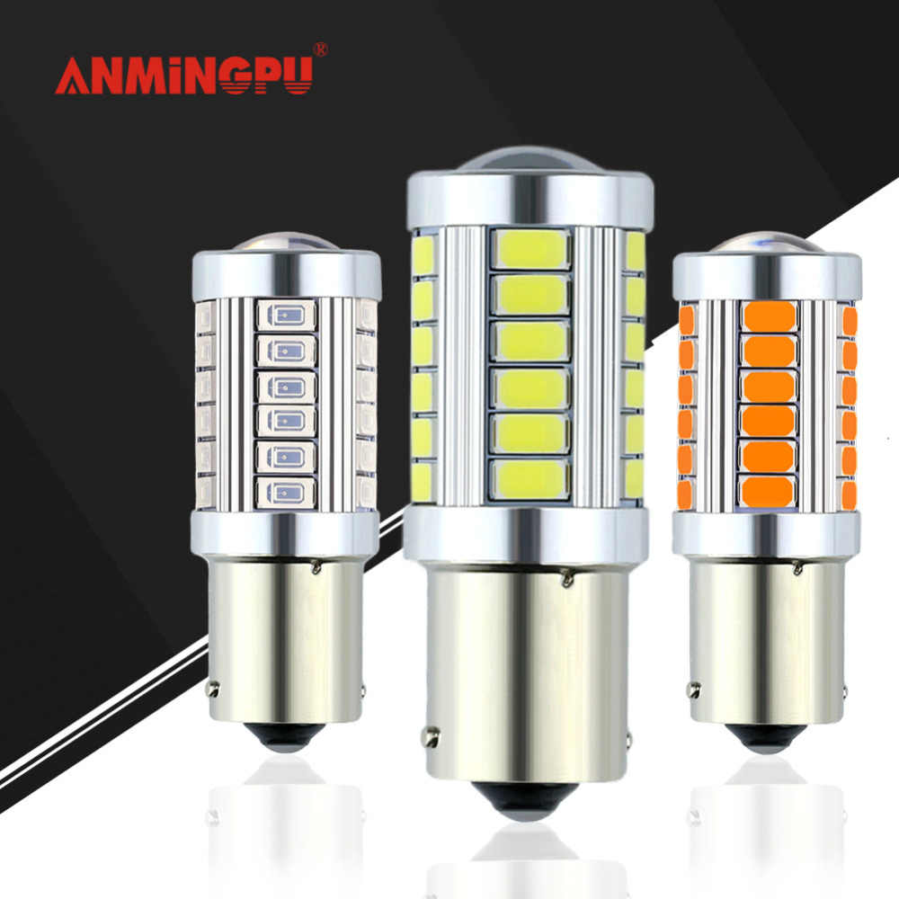 ANMINGPU 1x Signal Lamp P21W LED 1156 P21W Led Turn Signal Light 33SMD 5730 Bau15s Ba15s Led Bulb Brake Tail Lights Reverse Lamp