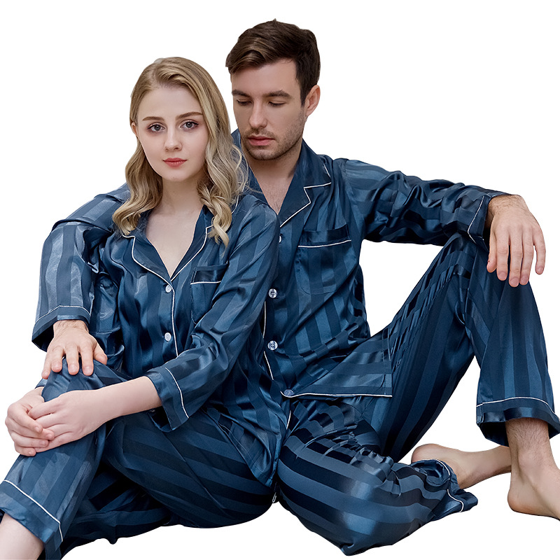 Tmall Seller New Thin Close-fitting Stain Silk Pyjamas Set Women Men High Quality Home Cardigan Striped Long Sleeve Pijama Suit