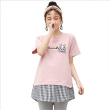 Sweet Patchwork Cotton Maternity T Shirt Summer Casual T-shirt Clothes for Pregnant Women Lovely Loose Pregnancy Tees Tops QV848(China)