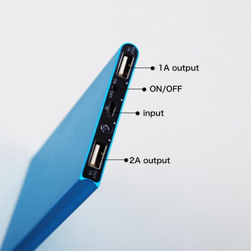 imágenes para De Metal Ultra Delgado Banco de la Energía 10000 mah Cargador Portátil Powerbank Batería Externa 2 USB para todo el Teléfono Envío Rápido