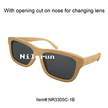 unisex men women square bamboo sunglasses with opening cut on nose for changing lens