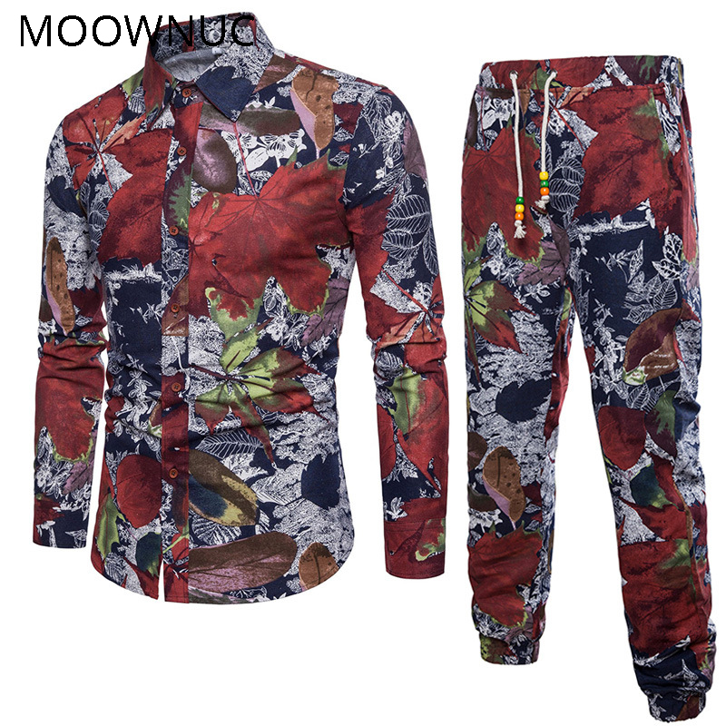 Ethnic Costumes Men's Sets Shirts + Trousers Two-piece Suite Short Sleeve Summer Fashion Mens Clothing Casual Male Printing 5XL