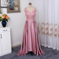 V Neck High Low Beaded Junior Country Bridesmaid Dresses Long Maid Of Honor Dress Sparkling Blush Pink Bridesmaid Gowns