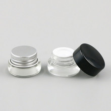 30 X 3g Traval Small glass cream make up jar with aluminium  lids white pe pad 1/10oz  cosmetic container packaging glass jar