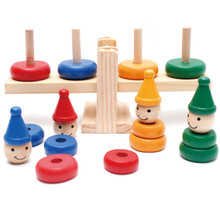 Children Wooden Clown Rainbow Stacker Toy Seesaw Balance Scale Board Balancing Game Kids Early Education Toy