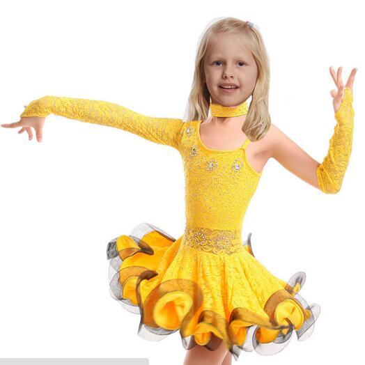 Unequal Lace Girls Latin Dance Dress Children Fancy Dress Kids Ballroom Dance Wear Salsa Tango Rumba Samba Costume