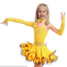 Girls Unequal Lace Latin Dance Dress Children Fancy Kids Ballroom Wear Salsa Tango Rumba Samba Costume