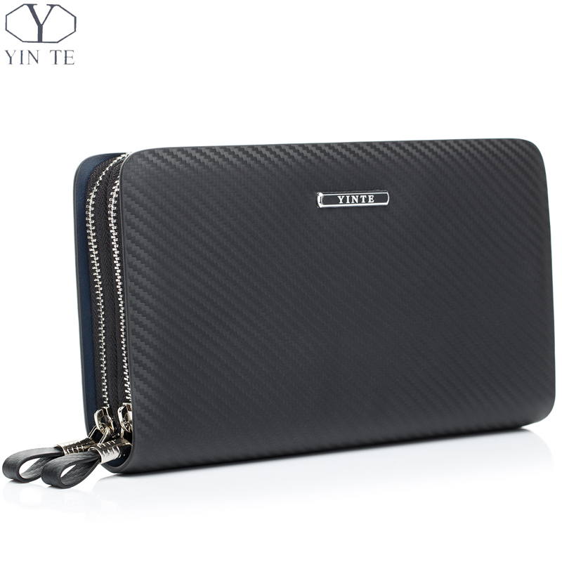 YINTE Leather Men's Clutch Wallets Business Black Bag Passport Wallet Phone Purse Men Leather Card Holder Men Wrist Bags T023-2 business men clutch bags classic wallet genuine leather male cell phone purse long style card holder clutch bags