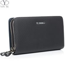 YINTE Leather Men s Clutch Wallets Business Black Bag Passport Wallet Phone Purse Men Leather Card
