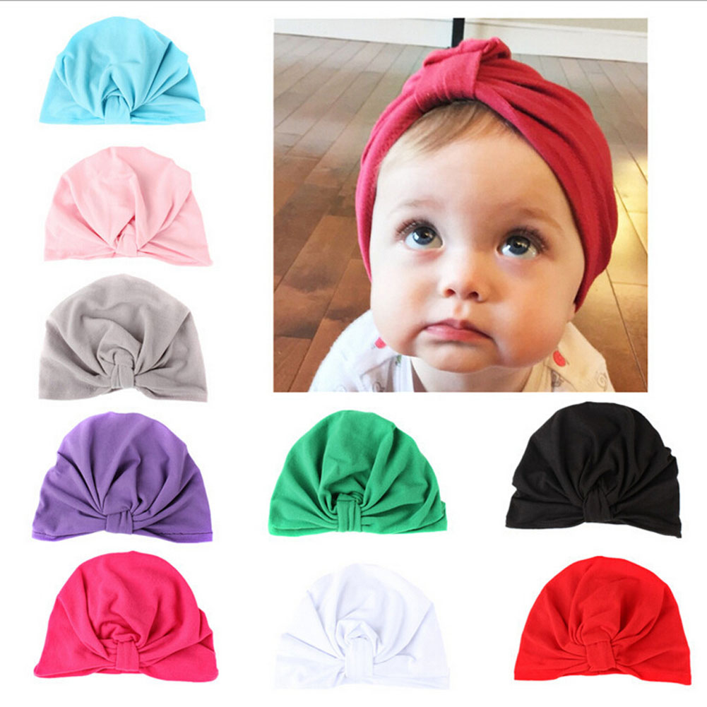 Newborn Baby Girls Boys Cotton Soft Turban Knot Hat Infant Toddler Beanies Cap Solid Indian Style Hats