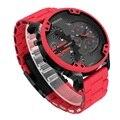 CAGARNY мужские 7370 Роскошные модные часы с датой, кварцевые часы с несколькими часовыми поясами, военные спортивные классические красные часы ...