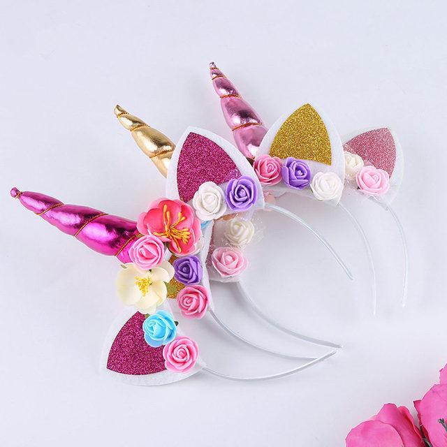 Girl Baptism Birthday Headband Horn Gold Glittery Artificial Flowers Ears  Headwear Princess Unicorn Theme Baby Shower 977620d96440